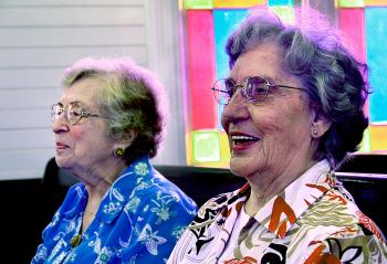Cary Rentrop, left, and Ellen Scott attended the confirmation class of the Patterson United Methodist Church together in 1943. The pair sit together in the same pew, midway of the sanctuary, every Sunday. They have been members longer than any other living church members.