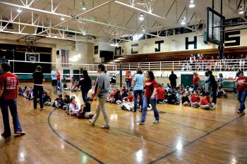 Morgan City Junior High School's gymnasium is full of children and faculty who were evacuated from Wyandotte Elementary School this morning after a gas line leak on Grizzaffi Street forced them to relocate.