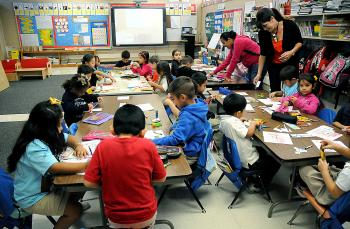 Sharisse Crochet, a kindergarten teacher in her 11th year at J.S. Aucoin Elementary in Amelia, has 16 of 24 students identified as English language learners, those who enter school with little or no understanding of English.
