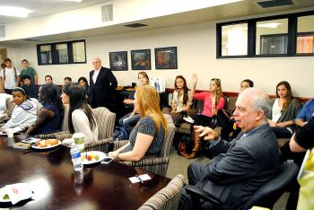 Former Washington Post reporter Carl Bernstein who, with colleague Bob Woodward, helped break open the Watergate scandal during the Nixon Administration, talks with an informal gathering of journalism students at the Manship School of Mass Communication at LSU Thursday.