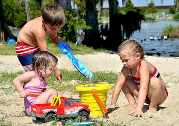 Kiley Blanchard, 2, Bryson Legnon, 4, and Brittney Duval, 5, enjoy an afternoon at Lake End Park in Morgan City Monday. Lake End Park of Morgan City will also be the site of the La Fête d'Ecologie Festival from 10 a.m. to 5 p.m. Saturday. La Fête d'Ecologie is a celebration of the environment, history and the unique blend of cultures found in the Barataria-Terrebonne National Estuary.