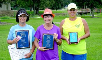 Class A Women's winners at the Louisiana State Singles Horseshoe Pitching Championships were, from left, Angela Percle of Morgan City (first), Pat Pertuit of Marrero (second) and Sharla Fontenot of Lacassine (third).