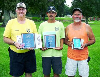 Class B Men's winners at the Louisiana State Singles Horseshoe Pitching Championships were, from left, Charles Savoy of Jennings (first), David Reed of Welsh (second) and Jimmy Percle of Morgan City (third).