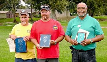 Class D Men's winners at the Louisiana State Singles Horseshoe Pitching Championships were, from left, Allen Duplantis of Lacassine (first), Mike Ricardo of Shreveport (second) and Burnie Williams of Morgan  City (third).