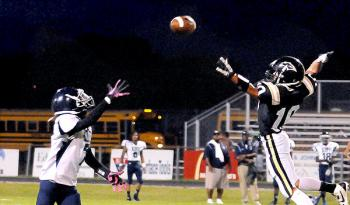 Berwick High School's Braden Billiot tries to deflect a pass away from a KIPP Renaissance player during the Panthers' 7-0 homecoming win last week. Berwick will be looking for their second win in as many weeks when they host Jeanerette Friday in a 7 p.m. contest.