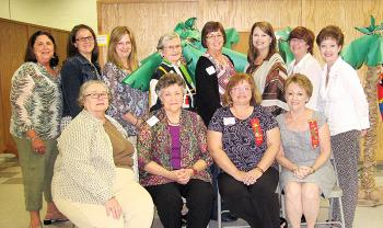 """Chi Chapter representatives attended the Epsilon State, Delta Kappa Gamma Society International, Southwest District meeting Oct. 5. Seated from left are Annette Carr, Betty Casselman, Alecia Rabalais and Jeannie Landry. Standing from left are Emily Guillotte, Chrissy Harrison, Malissa Hebert, Margaret """"Bunny"""" Casselman, Nancy Crochet, Dawn Chaisson, Robbie LeBlanc and Mary Ann Hebert. Carolyn Chaisson also attended."""