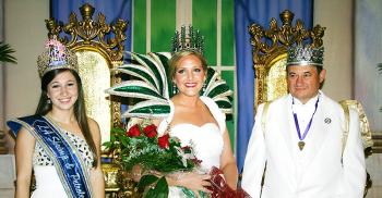 From left Paige Johnson, Louisiana Shrimp & Petroleum Festival queen, and Meredith Conger and Greg Nolan, 72nd Louisiana Sugar Cane Festival queen and king .