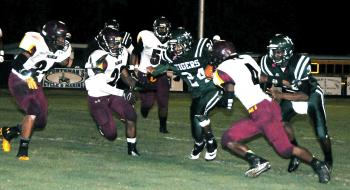 Morgan City running back Kevon Marsh carries the football during the Tigers' contest against Franklin Friday.