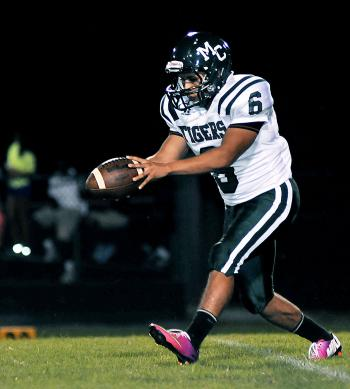 Morgan City's Sergize Flores prepares to punt during earlier season action. Flores was responsible for Morgan City's points a week ago as he kicked two field goals in a 30-6 loss to Franklin. The Tigers will return to action Friday when they travel to face Rayne High School