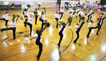 Morgan City Junior High School held its Pink Game earlier this month. Prior to the game, the school held a ceremony in which various groups from the school and Berwick Junior High School participated. Above, members of Morgan City Junior High School's dance team perform. Berwick Junior High won the seventh-grade match, while Morgan City took the eight-grade match.