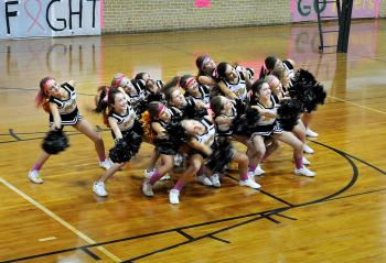 Morgan City Junior High School held its Pink Game earlier this month. Prior to the game, the school held a ceremony in which various groups from the school and Berwick Junior High School participated. Above, Berwick Junior High School cheerleaders perform. Berwick Junior High won the seventh-grade match, while Morgan City took the eight-grade match.