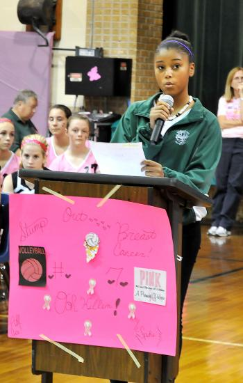Morgan City Junior High School held its Pink Game earlier this month. Prior to the game, the school held a ceremony in which various groups from the school and Berwick Junior High School participated. Above, Morgan City Junior High School eighth grader Alira Clark, who represented the Sistahs Organization, participates in the event. Berwick Junior High won the seventh-grade match, while Morgan City took the eight-grade match.