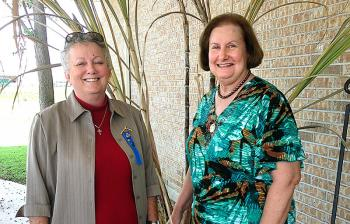 Sandra Marshall, Patterson Garden Club president, greeted Louisiana Garden Club Federation President Yvette Hebert, right, at the Federation's District 3 Fall Luncheon on Oct. 15. Patterson Garden Club hosted the event.