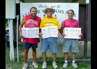 Winners of the Bayou Horseshoe Pitchers Association City Singles Tournament Sunday at Kemper Williams Park near Patterson were, Kevin Dore' of Patterson, City Champion; Gerald Prados of Centerville, second; and Karl Vaughn of Bayou L'Ourse, third.